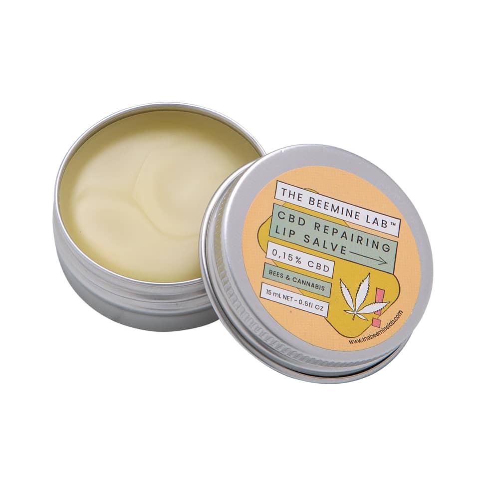 CBD Lip Balm Open with lemongrass